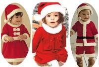 Happy Christmas Children Suit Baby Boys Girls Santa Jumpsuit girls Bow dress + Hat 2pcs Set Girls Christmas Dress free ship