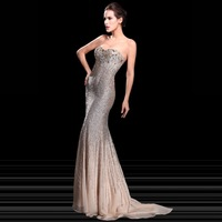2014 New Collection Real Photos Luxury Crystal Beaded Sweetheart Sequined Sexy Sheath Mermaid Elegant Evening Dresses