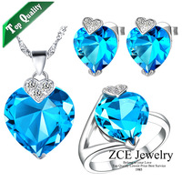 Fashion Czech Diamond Jewelry Austrian crystal sets 925 silver plated semi-precious stone AS Heart Of Ocean sapphire for women