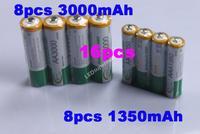BTY 8 pcs 1.2v AA 3000mAh+8 pcs AAA 1350mAh Rechargeable Recharge Ni-MH NiMH Battery