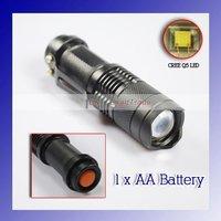 Mini LED Torch 3W 350LM SK68 CREE Q5 LED Flashlight Adjustable Focus Zoom flash Light Lamp free shipping