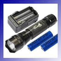 [BLACK] UltraFire WF-501B U2 Cree XM-L U2 1200 Lumens LED Flashlight +2 x 18650 3000mAh battery+Charger + Free shipping