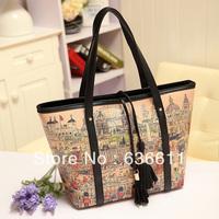 2013 fashion vintage print tassel bag casual one shoulder handbag large bag women's handbag