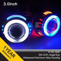 3.0HQL Double Angel Eyes CCFL 3inch 35w Bixenon Projector Lens H4 H1 H7 4300k 6000k Universal car Headlight