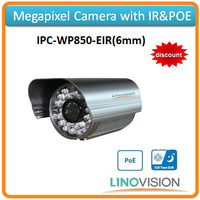 Freeshipping Linovision megapixel resolution Megapixel IP camera with IR night vision, support POE