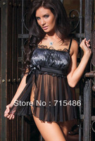 Hot Selling Satin Top Lovers Game Babydoll with Mesh Hem Sexy Black Lingerie