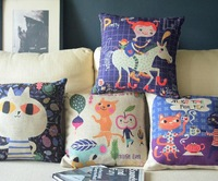 Fairy Tale World Little kitty Lovely Anime Linen Cotton 45*45cm 4pcs/lot Cushion Cover Pillows  Decorate for a Sofa Wholesale