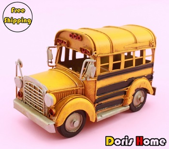 Free shipping Handmade 3D Metal / iron  Manual School bus model home decoration / homdecor,Crafts,Gift, boy's toys(5853)