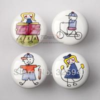 5pcs Sports Child Ceramic Door Knob Kitchen Cabinets Kids Furniture Bedroom Dresser Drawer Pulls