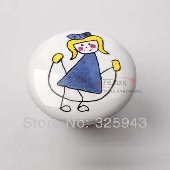 2pcs Boys Girls Cartoon Ceramic Cabinet Knobs And Handles Kid Furniture Bedroom Door Handle