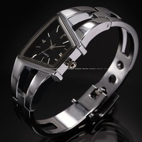 Classic Fashion Silver Bracelet Black Dial Analog Bangle Steel Lady Quartz Party Women's Dress Wrist Watch / WK615
