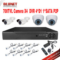 Free Shipping 700TVL 2pc Dome camera 2pc Bullet camera 4CH CCTV Security Camera System DIY Kit Color Video Surveillance System