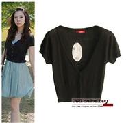 Womens summer fashion V neck ultra thin knit shrug short sleeve all-match cardigan waist short small tops for women 2014
