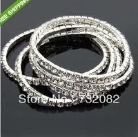 4pcs/lot 1 row silver Plated Shiny Rhinestone Wedding Bridal Crystal elastic Bracelet Bangle Wristband Jewelry Fit E206801