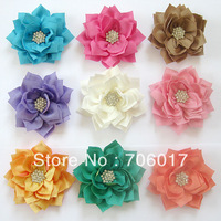 36ps/lot 3'  Winter  Fabric flowers With Starburst Button Kanzashi Flowers 10 color baby gril's hair accessories free shipping