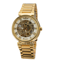 Free Shipping! Winner Brand Mens Military Gold Skeleton Hand Wind Mechanical Wrist Watch Fashion Original Wristwatches