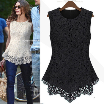 2013 Spring Summer New Fashion Women Lined 100% Cotton Lace European American Sexy Sleeveless  tops dress Free Shipping LYQ3101
