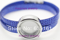 6pcs blue leather chain round authentic glass locket floating charm bracelet