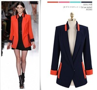 Free Shipping Elegant New Fashion Casual Women'sSuit Mixed Color Jacket Coat Vintage Candy Colors Blazer Suits for Women  6128