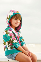 Hot sale 2013 new spring fall winter clothes children's clothing New England bright flower girls casual hooded jacket retail