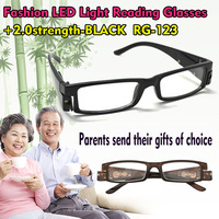 +0.0 No lens glasses LED light easy to read in bed repairing tools eyewear black and brown frame reading glass formen and  women