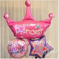 Queen 69cm Anagram Aluminum Balloon 3pcs/set Princess Crown Kid Birthday Party Decoration child Foil Balloon Free shipping