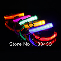 New Safety Dog Pets Nylon LED Collar Light-up Flashing Glow LED Collar S M L XL S M L XL SL00405Free Shipping