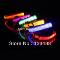 New Safety Dog Pets Nylon LED Collar Light-up Flashing Glow LED Collar S M L XL S M L XL SL00405Free Shipping