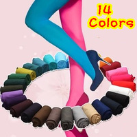 Free Shipping 2014 Spring Korean Woman 100% Velvet Candy Color 120D Pantyhose Plus Size Multicolour Stovepipe Tights Women