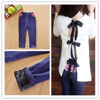 free shipping  2013 kids girls jean  pants, cotton cashmere pants, elastic waist legging warm pants winter  retail