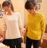 13 twisted sweater slim fashion design o-neck short
