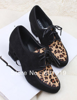 Fashion all-match ol sexy leopard print horsehair velvet lacing boots coarse boots gladiator boots