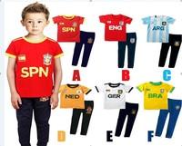 New arrival Children's clothing 2014 brazil World Cup boys summer short-sleeve sports set  twinset tshirt and pantschild set