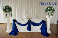 Free shipping 1 navy blue 5M*1.35M Sheer Organza Swag DIY Fabric Wedding Party Banquet Top Table Decor Stair Valance Bow New
