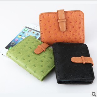 Free Shipping Ostrich Grain Women Credit Card Holder Leather Strap Bank Card Bag 26 Card Case Business Card Wallets BB-18(China (Mainland))
