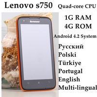 Original Lenovo s750 mobile quad core cpu ip67 waterproof mobile phone Android 4.2 system supports multi-language free shipping