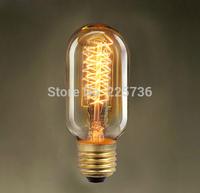(2pcs/lot) T45 e27 screw-mount Special vintage edison bulb light incandescent bulbs lamp/Carbon Spiral Edison Bulb 40W 220V