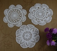 Free Shipping 30PCS Handmade Crochet pattern doily 3 designs cup Pad mat table cloth  Vintage Custom Colors 18-20cm