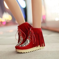 Women Ankle Boots tassel Botas Sapatos /Zapatos Fashion animal 2013 front strap fashion elegant casual tassel boots flat 302