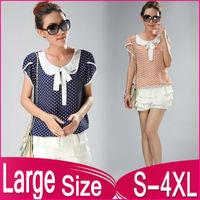 2014 women's street slobbish peter pan collar short-sleeve chiffon polka dot shirt sweet  shirts free shipping