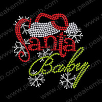 Hot Sale Free Shipping Wholesale 50Pcs/Lot Santa Baby Iron On Bling Transfer Rhinestone Motif Designs Hot Fix For Garment