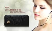 Big Sale Brand Design Vintage Crocodile Pattern Genuine Leather Women Clutch Long Wallets Purse Card Holder Coin Bag Wristlets
