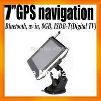 "FreeShipping Japan Digital TV 7"" HD Car GPS Navigation System HD+ISDB-T+Bluetooth+AV IN+FMT+8GB/128MB+Free Map"
