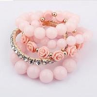 Fashion Korean Sweet Girl Pink Rose Round Beads Multilayer Elastic Bracelet B564