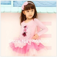 Fast shipping wholesale(4pcs/1lot)4-8 years Korea  lace Long sleeve pink Children's,girls kid one-piece dress