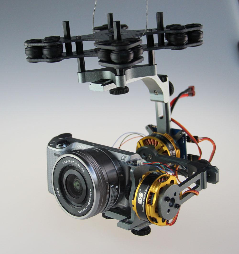 F06657 2-Axis Aluminum Brushless Gimbal Camera Mount PTZ w/ Motor for Sony NEX FPV Multicopter + Freeship(China (Mainland))