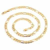 Fine Polished Men Accessories, Men Gold Necklace, 18K Gennine Gold Filled Link Chain Necklace, 600mm Length, 6mm Width, C-04