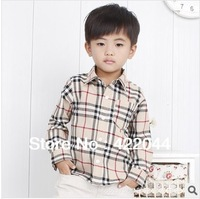Free shipping 2013 new autumn children's garments,plaid shirts