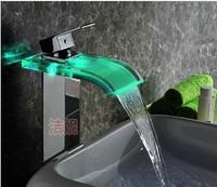 The strip lamp luminous Basin Glass waterfall faucet led hydraulic self generating and platform basin