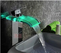 The strip lamp luminous Basin Glass waterfall faucet led hydraulic self generating and platform basin